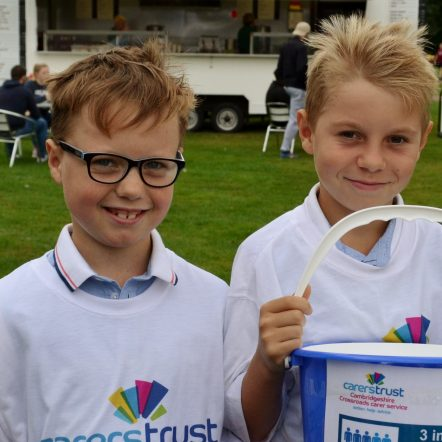 Young Carers Charlie and Thomas with donation bucket