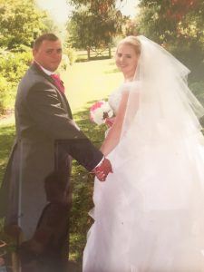 Emma and Leigh on their Wedding day