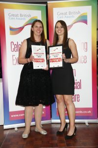 """Ruth Young and Rebecca Browne who were regional finalists for the """"Putting People First/Personalisation Award""""."""