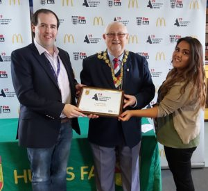 Andy McGowan and Ella McKenzie receive Hunts FA Grassroots Project of the Year Award