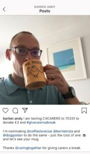 Give carers a break - with #GiveCarersABreak and your mug