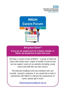 Norfolk and Norwich Hospital Carers' Forum flier