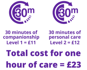 Total cost for one hour of care